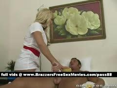 Sexy blonde nurse Washes a...